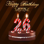 26Year happy birthday hard with cake and candles 26th birthday - vector EPS10