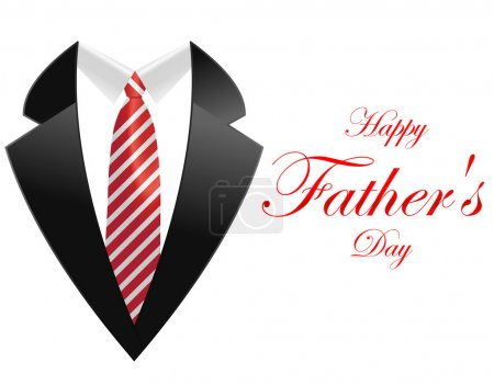 Happy fathers day, greeting card with coat and necktie