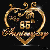 85 year anniversary golden heart design card
