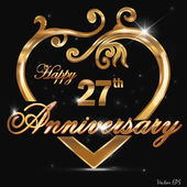 27 year anniversary golden heart design card