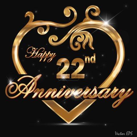 22 year anniversary golden heart design card