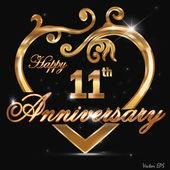 11 year anniversary golden heart design card
