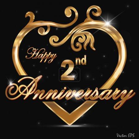 2 Year anniversary golden label, 2nd anniversary decorative golden heart