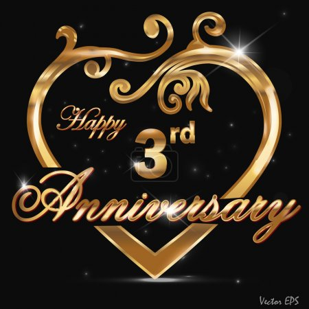 3 Year anniversary golden label, 3rd anniversary decorative golden heart