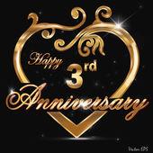 """Постер, картина, фотообои """"3 год юбилей Золотой ярлык, 3-й годовщины декоративные Золотое сердце"""""""