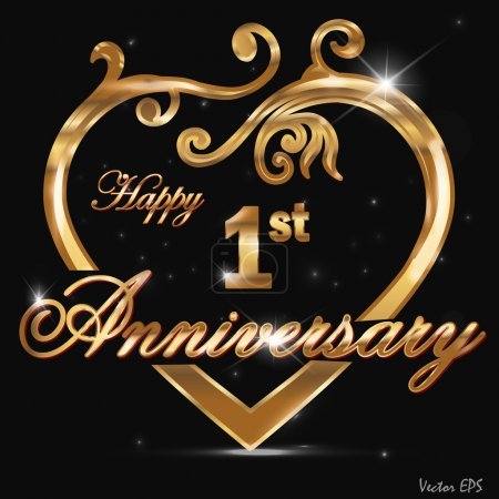 1 Year anniversary golden label, 1st anniversary decorative golden heart