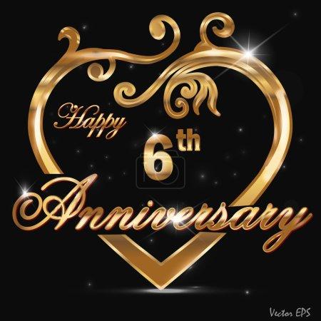 6 Year anniversary golden label, 6th anniversary decorative golden heart