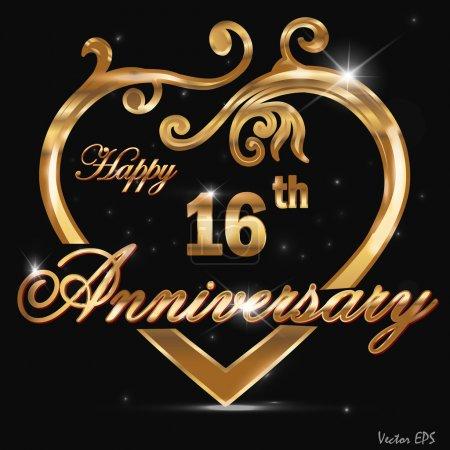 16 Year anniversary golden label, 16th anniversary decorative golden heart
