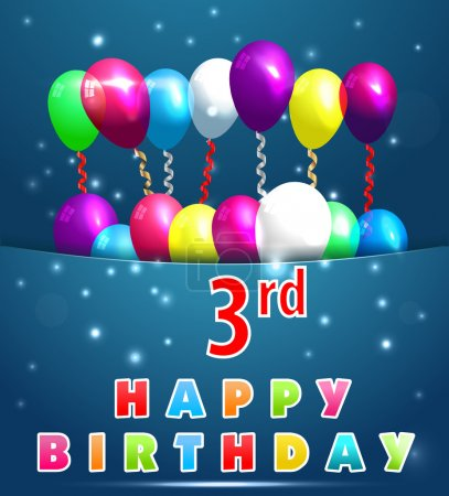 3 Year Happy Birthday Card with balloons and ribbons, 3rd birthday - vector EPS10