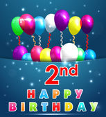 2 Year Happy Birthday Card with balloons and ribbons 2nd birthday - vector EPS10