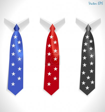 Colored tie, striped silk ties collar template, Easy editable colors - vector eps10