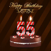 55 Year Happy Birthday Card with cake and candles 55th birthday - vector EPS10