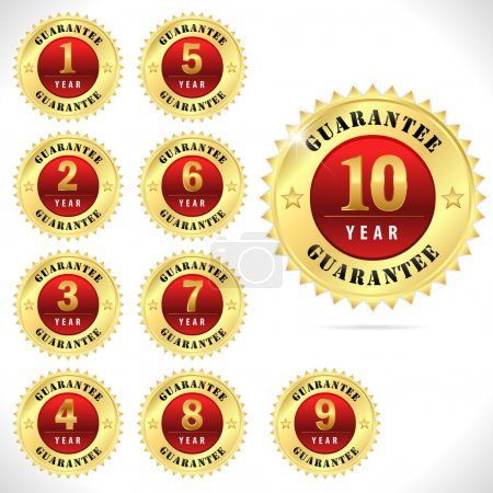 Gold top quality guarantee badge from 1 to 10 year- vector eps 10