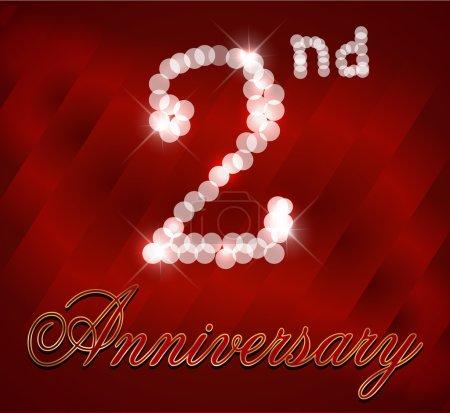 2 Year Happy Birthday Card, 2nd birthday - vector EPS10