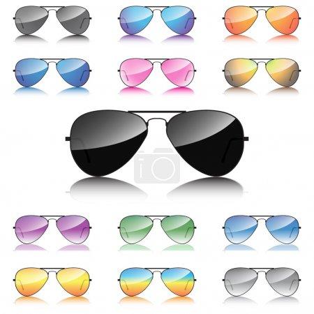 Mirror sunglasses icons set