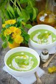 Puree the soup green peas.