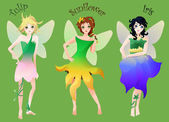 Set of cute little fairies in flower dresses isolated on green