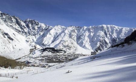 The town of Stepantsminda, in Caucasus mountains