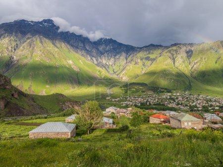 Caucasus mountains seen from Stepantsminda village.