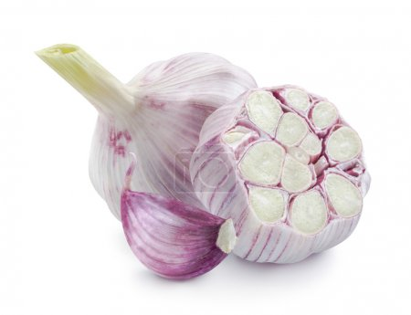 Photo for Young garlic heads whole and half isolated on white background as package design elements - Royalty Free Image