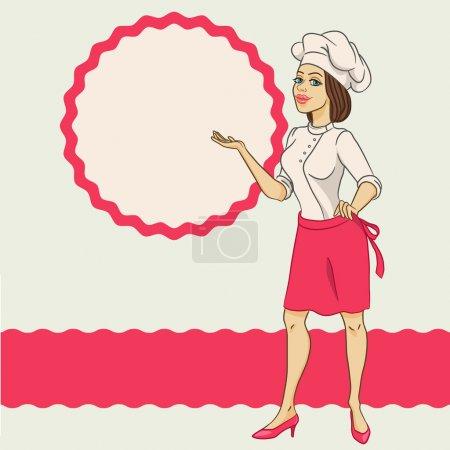 Illustration pour Chef, cuisine, nourriture, femmes, belle - image libre de droit