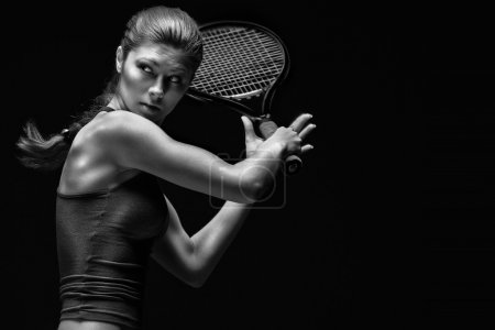A portrait of a tennis player with a racket....