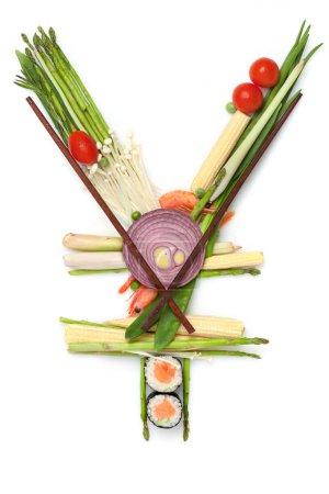 Photo pour Un stillife de signe yen fait du sushi. - image libre de droit