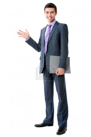 Business man pointing at copyspace