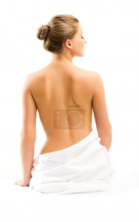 Photo for Back beautiful woman on white background - Royalty Free Image