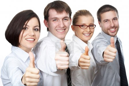 Business people giving the thumbs-up