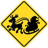 Yellow traffic sign of crossing Santa Claus