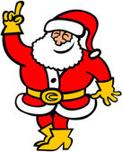 Santa Claus wearing yellow boots and gloves