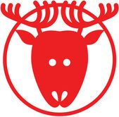 Red Christmas reindeer avatar with pointy ears and big antlers while staring at you inflating its nose and posing inside a circle