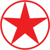 Red Christmas five-pointed star avatar presented inside a circle