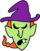Scary green witch with long red hair and big nose wearing a huge purple hat while expressing how furious she is