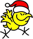 Chicken wearing red Santa hat