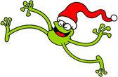 Green frog wearing Santa hat