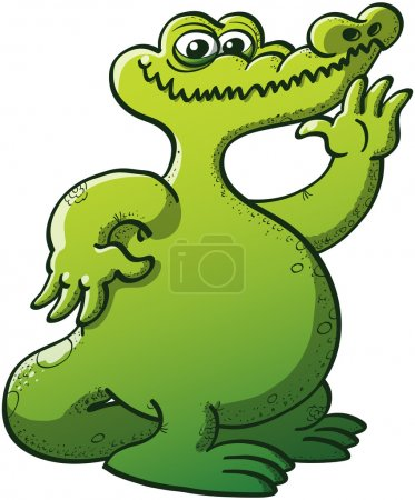 Chubby green crocodile