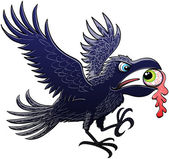 Evil raven extending and flapping its wings for landing after having ripped and stolen a green eyeball which keeps perplex staring at the raven with its powerful beak