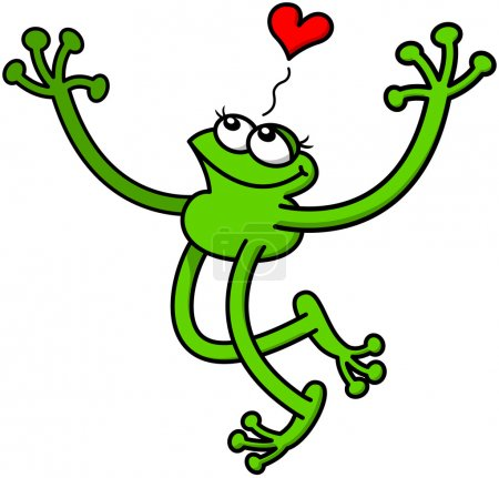 Cute green frog in love