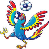 Beautiful colorful macaw opening its wings and raising a leg while enthusiastically bouncing a soccer ball on its head