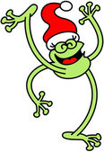 Green frog celebrating Christmas