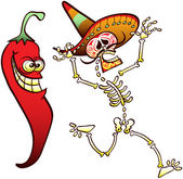 Funny Mexican skeleton beautifully decorated wearing a big hat running away and shouting after having met a terrifying red chili hot pepper with a very evil expression
