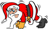 Santa Claus wearing red Christmas costume looking tearful and very tired while sweating sticking his tongue out and making a great effort to do his push-ups workout