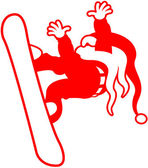 Brave snowboarder with a long white beard and a long red hat while executing a stunning jump in a stylish pose and wearing a Christmas Santa costume