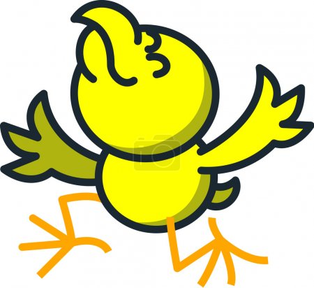 Yellow chicken kneeling