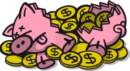 Illustration for Broken piggy bank with dead eyes, flat snout, pointy ears, sticking its tongue out, lying on the ground after having been broken and as consequence all the dollar coins have being spread out - Royalty Free Image