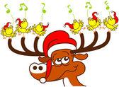 Nice deer with red Santa hat