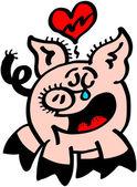 Pig with broken heart