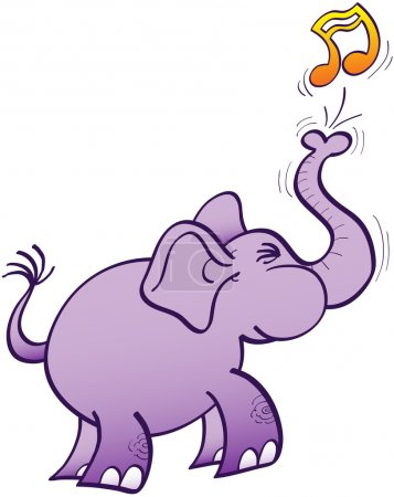 Illustration for Purple elephant clenching its teeth and making a big effort to blow a musical note with its powerful trunk - Royalty Free Image